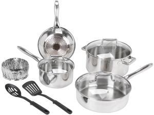 T-FAL C839SA74 Performance Stainless Steel Copper 10-Piece Set, Silver