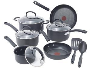 T-fal E765SC64 Ultimate Hard Anodized Scratch Resistant Titanium Nonstick Thermo-Spot Heat Indicator Anti-Warp Base Dishwasher Safe Oven Safe PFOA Free Cookware Set, 12-Piece, Gray