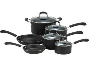 T-fal E938SA94 Professional Total Nonstick Oven Safe Thermo-Spot Heat Indicator Dishwasher Safe 10-Piece Cookware Set, Black