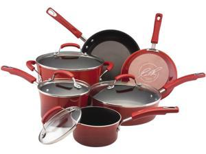 Rachael Ray 11535 Porcelain Enamel II Nonstick 10-pc Cookware Set Red