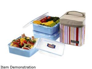 Lock&Lock HPL823RP Square Lunch Box 3-Piece Set W/Pink Bag