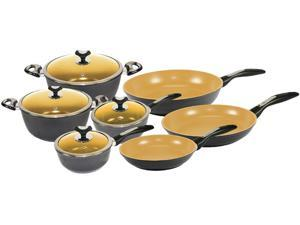CHI Home CC1041 10 Piece w/ Bonus Non-Stick Ceramic Cookware Set Black