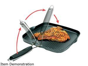 """Starfrit 30036-006-SPEC 10"""" x 10"""" Grill Pan with Foldable Handle"""
