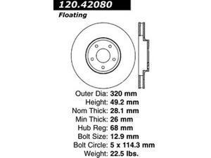 Centric-Power Slot 126.42080SL Brake Rotor