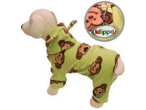 Adorable Silly Monkey Fleece Dog Pajamas/Bodysuit with Hood - Lime - XS