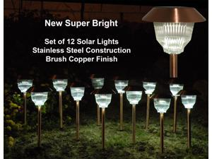 Homebrite Copper Garden Landscape Solar Light with Natural Warm Light, 30865, Small, Rockwell, Set of 12, Copper