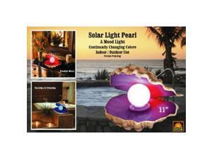 Homebrite, Polyresin, Solar Powered Progressive Color Changing Novelty Mood Light Pearl in Clam Shell, 30869
