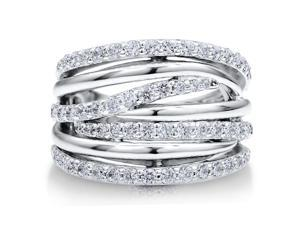Sterling Silver 925 Cubic Zirconia CZ Multi Strand Woven Ring Band Women's Jewelry