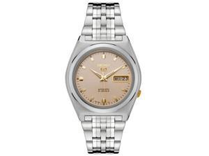 Men's Seiko 5 Automatic Champagne Grid Dial Stainless Steel