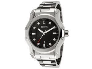 Bulova Men's Diamond Black Dial Stainless Steel 96D109