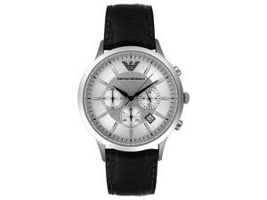 Armani Classic Chronograph Silver Dial Black Leather Mens Watch AR2432
