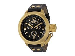 I By Invicta 70113-005 Men's Multi-Function Black Genuine Leather And Dial 18K Gp Ss Watch