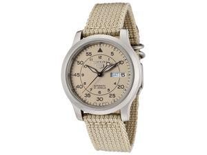 Seiko 5 Beige Dial Nato Strap Automatic Mens Watch SNK803K2