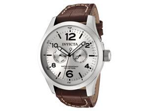 Invicta II Silver Dial Men's Watch with Brown Calf Leather Strap