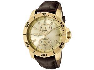 I by Invicta 43663-004 Men's Quartz Chronograph Watch - Gold Dial & Brown Leather