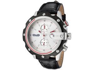 Dolce & Gabbana Men's Sean Chronograph Silver Dial Black Leather
