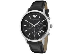 Emporio Armani Men's Classic Chronograph Black Embossed Leather
