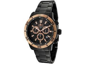 Men's Invicta II Chronograph Black Dial Black Ion Plated Stainless Steel