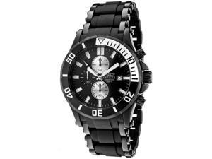 Invicta 1480 Men's Sea Spider Chronograph Black Dial Black Ion Plated Watch