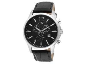 Lucien Piccard 11567-01 Men's Adamello Chronograph Watch - Black Dial Black Genuine Leather