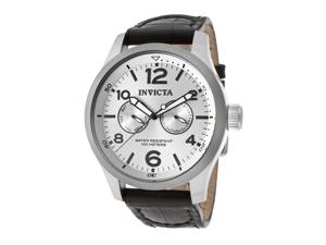 Men's I-Force Silver Dial Black Genuine Leather