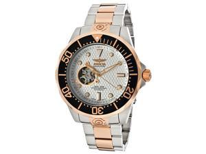 nvicta Men's Automatic Pro Diver Silver Textured Dial Stainless Steel & 18K Rose