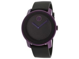Movado Bold Black Dial Purple Aluminum Unisex Watch 3600175