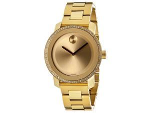 Movado Bold Diamond Gold Dial Gold Ion-plated Steel Ladies Watch 3600150