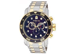 Invicta 77 Men's Pro Diver Chronograph Ss And 18K Gp Ss Blue Dial Stainless Steel Watch