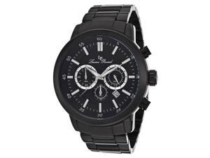 Lucien Piccard 12011-BB-11 Men's Monte Viso Chronograph Watch - Black Textured Dial Black IP Stainless Steel