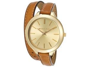 Michael Kors Runway Gold Tone Double Brown Womens Watch MK2256