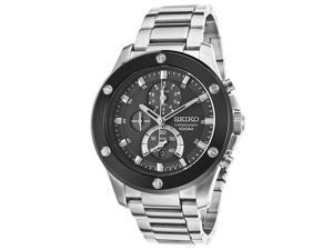 Seiko Chronograph Black Dial Stainless Steel Mens Watch SPC097