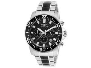 Men's Pro Diver Chrono Stainless Steel & Black IP SS Black Dial