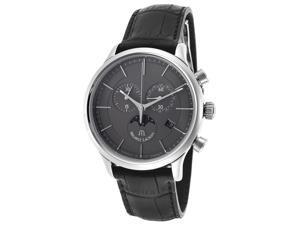 Men's Les Classique Chronograph Black Genuine Leather Grey Dial