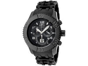 Invicta 6713 Men's Sea Spider Chronograph Black Dial Black Polyurethane and Black Ion