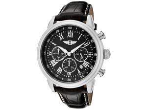 I By Invicta 90242-001 Men's Chrono Black Genuine Leather And Dial Ss Watch