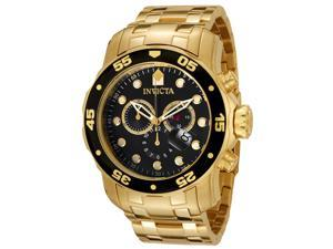 Invicta Men's Pro Diver Chronograph 18K Gold Plated Steel Black Dial Watch