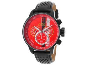 Invicta 19291 Men's S1 Rally Gmt Chrono Black Genuine Leather Red Dial Watch