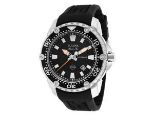 Bulova 98B209 Men's Marine Star Automatic Black Rubber And Dial Stainless Steel Watch