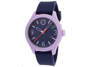 Esq Movado 7101429 Esq One Navy Blue Silicone & Dial Lavender Case Short Strap Watch