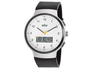Braun Bn-0159-Whbkg Men's Classic Analog Digital Black Rubber White Dial Ss Watch