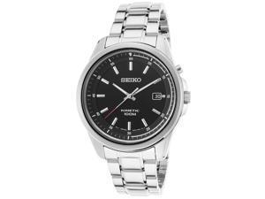 Seiko Ska677p1 Men's Kinetic Stainless Steel Black Dial Watch