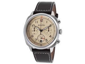 Bulova 96B231 Men's Chronograph Black Genuine Leather Beige Dial Ss Watch