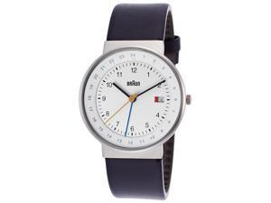Braun Bn-0142-Whblg Men's Classic Gmt Blue Genuine Leather White Dial Ss Watch
