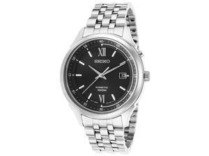 Seiko Men's Kinetic Stainless Steel Watch - Black Dial Silver Tone Bezel