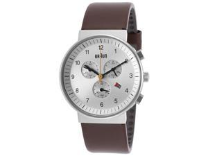 Men's Classic Chronograph Brown Genuine Leather Silver-Tone Dial