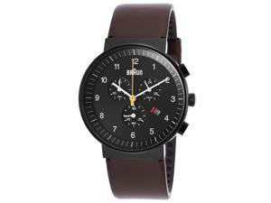 Men's Classic Chronograph Brown Genuine Leather Black Dial