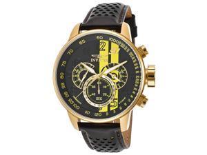 Invicta 19905 Men's S1 Rally Gmt Chrono Black Genuine Leather Black & Yellow Dial Watch