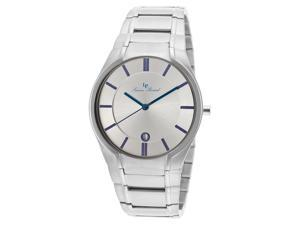 Davos Stainless Steel Silver-Tone Dial Blue Accent