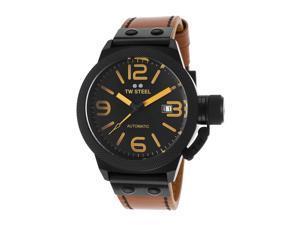 Tw Steel Cs45 Men's Canteen Auto Brown Genuine Leather Black Dial Watch